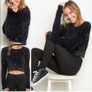 Brandy Melville Fuzzy Crop sweater